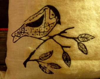 PILLOW- eco-friendly fully handcrafted pillow - hand-screen printed -