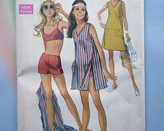 Vintage 60s Uncut Pattern Playsuit Beach Mini Dress 31 1/2