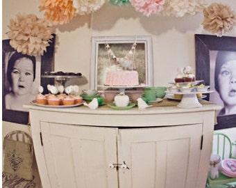 12 Tissue Poms- Vintage Tea Party
