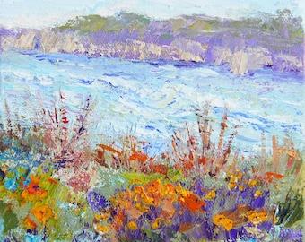 Seascape impressionist painting, Stormy Seas, original landscape palette knife painting, 6x6inch, small format art, artbymarion