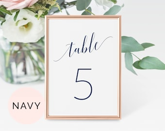 Navy Table Number Cards, Table Numbers Template, Printable Table Numbers, Table Numbers Wedding, Wedding Table Numbers, , Table No Cards