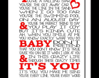 A3 Michael Buble Everything  Print Typography song music lyrics for framing   ( Print Only )