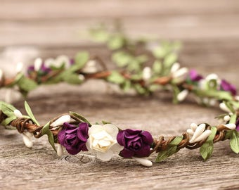Purple and White Wedding Flower Crown - Bridal Flower Crown Plum -  Floral Headpiece - Hair Wreath - Wedding Flower Crown - Flower Headband