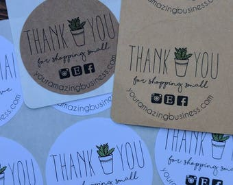 STICKERS! Custom Thank You Succulent Stickers, thank you stickers, small business stickers, custom stickers, personalized stickers