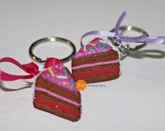Fimo ' strawberry cake ' key ring