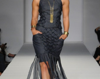 Woven Two Piece with Peplum Top and Fringed Pencil Skirt