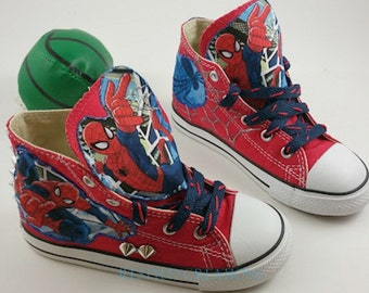 "Customized ""Spiderman"" Converse Shoes/ Customized Chuck Taylors"