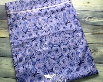 Large Wet bag Blue Roses PUL with White Zipper