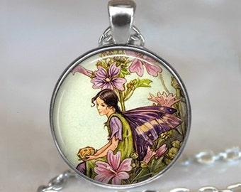 Mallow Fairy necklace, Mallow Fairy pendant flower fairy jewelry fairy jewellery antique fairy art jewelry purple fairy key chain key ring