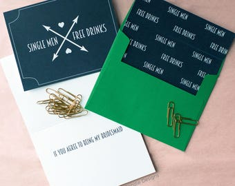 Single Men Free Drinks If You Agree To Being My Bridesmaid Card | Funny Way To Ask a Bridesmaid or Maid of Honor | Cute Card for Best Friend