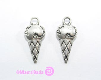 Set of 6 charms/pendant/charms cone of ice cream Ice cream color silver REF:2 / 83