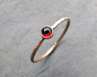Tiny 14k Gold Garnet Ring - 3mm Round Garnet Stacking Ring in Yellow Gold - January Birthstone Mother's Ring - Hammered, Matte, or Polished