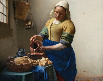 The Milkmaid by Johannes Vermeer, in various sizes, Giclee Canvas Print