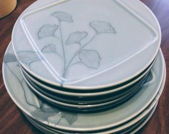 Vintage Pier 1 dishes set - Blue Mint Floral Japanese style plates - beautiful dish set & Japanese plates | Etsy