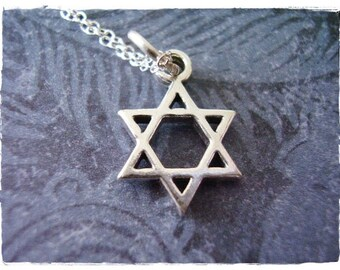 Silver Star of David Necklace - Sterling Silver Star of David Charm on a Delicate Sterling Silver Cable Chain or Charm Only