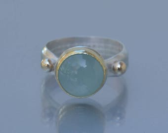 Milky Aquamarine Ring in Sterling and Gold,  Size 8 Aquamarine Ring, Natural Aquamarine Cocktail Ring, March birthstone Ring