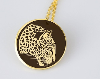 Leopard, big cat design stainless steel gold plated pendant necklace