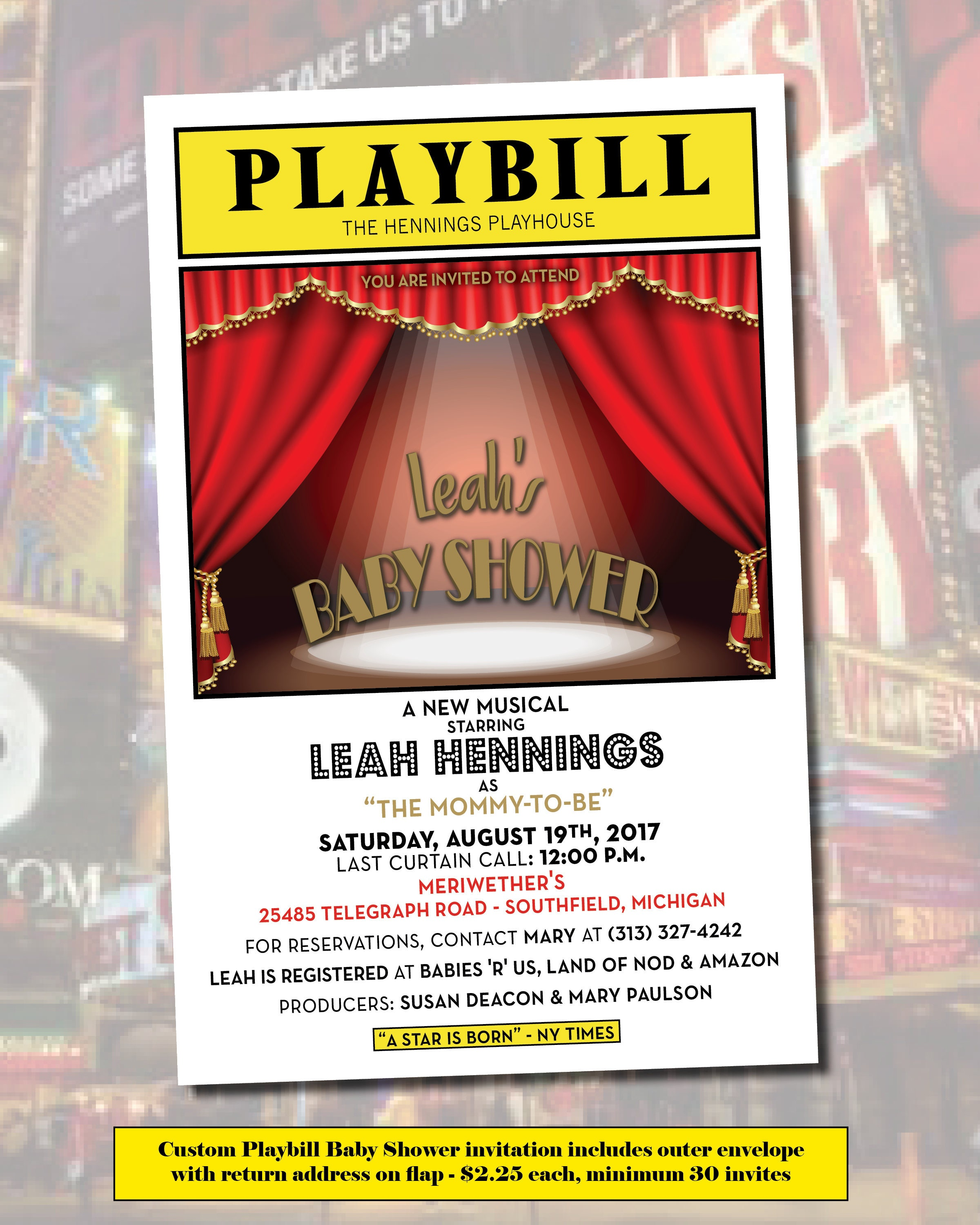 PLAYBILL Theater Baby Shower invites Broadway includes