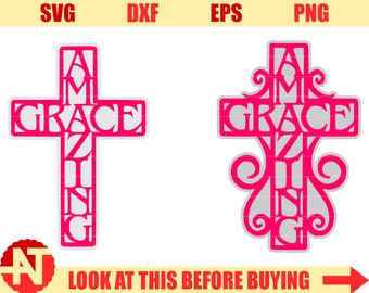 Amazing Grace svg Christian svg Cross svg files for Cricut Silhouette Vector Cutting files cut files svg dxf eps png lfvs