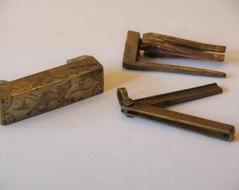 Brass vintage Chinese padlock and key