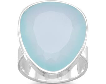 Freeform Sea Green Chalcedony Ring, Silver Ring, Sea Green Chalcedony.
