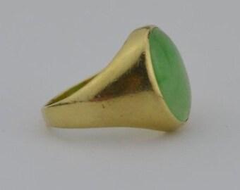 14k Yellow Gold Vintage Jade Ring Size 6.5