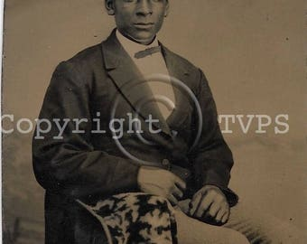 African American Tintype photograph Dapper Seated Man