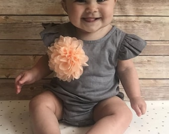 Baby Girl Linen Grey  One Piece Infant Bubble Romper with Matching Headband