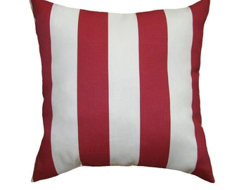 Deck Stripe Red and White Outdoor Decorative Throw Pillow - Red and white - Free Shipping