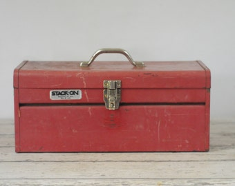 Vintage Metal Tool Chest Toolbox Stack-On Metal Box Metal Tool Box Metal Parts Box