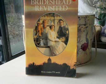 Brideshead Revisted by Evelyn Waugh, vintage Penguin book soft cover, English novel, Captain Charles Ryder,  home staging, library decor