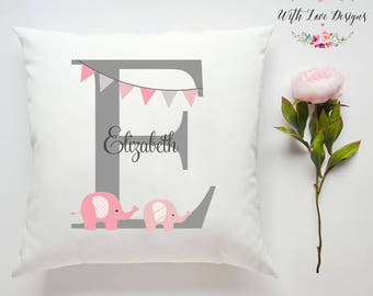 Baby Girl Initial Pink Elephant Love Personalised Custom Made Pillow Cushion Photo Birthday Gift Present Customised