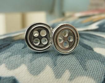 Button earrings in sterling silver