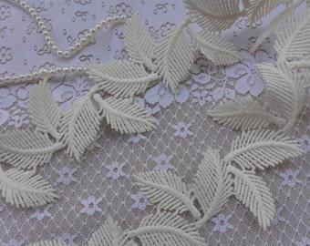 Venice Lace trim, Off white Venice Lace Trim, Super Exquisite Leaves Lace Wedding Bridal Bracelet Jewelry Design