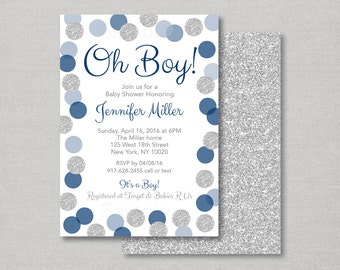 Navy & Silver Baby Shower Invitation / Glitter Baby Shower Invite / Faux Silver Glitter / Oh Boy / Baby Boy Shower / PRINTABLE A133