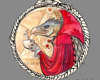 Skeksis Coffee-plain version-  funny illustration - 8x8 inch print