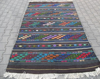 free shipping VINTAGE TURKİSH balya kilim Anatolian handwoven kilim rug decorative kilim - SİZE :54'' X 100'' ( 135 cm X 250 cm)