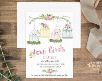 Love Birds Bridal Shower Invitation | DIY Printable Or Printed With  Envelopes | Floral Watercolor | Vintage | Shabby Chic | Bird Cage
