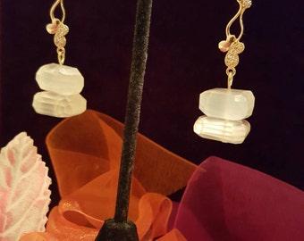 Icy Cubes Quartz Dangling Earrings,White Cubes Golden Earrings.