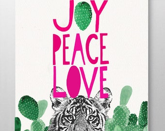 JOY PEACE Tiger Artwork Cactus Print Wall Decor Hello Holidays! Print Mixed media Decorative art Animal art illustration, POSTER