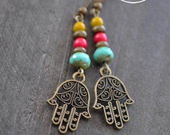 Boucles d'oreilles main de Fatima - Protection - Baroque - Bronze - Rose - Turquoise - Jaune moutarde - Bijou bohème - Coco Matcha