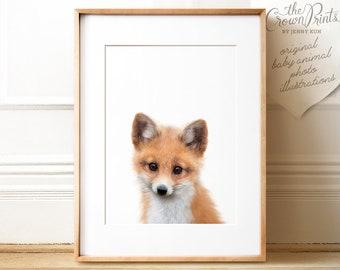 Fox art print, PRINTABLE, Fox print, Nursery decor, Animal art, Baby animal prints, Nursery wall art, Woodland animal prints, kids wall art