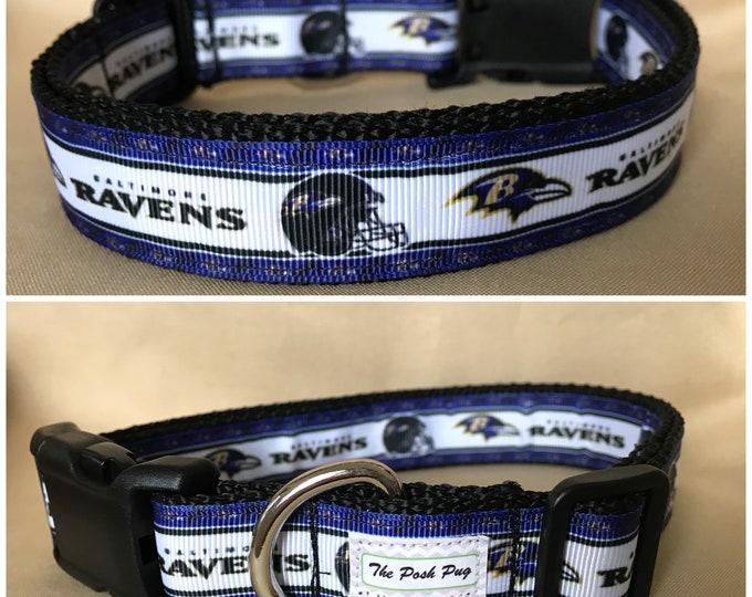 "Handmade Ravens Fan 1"" Adjustable Dog Collar - LARGE"