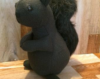 Black stuffed squirrel,black squirrel,nursery decor