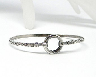 Twisted & Tied No2 Rope Motif Sterling Silver Slave Cuff with Sterling Silver Spring Gate Clasp