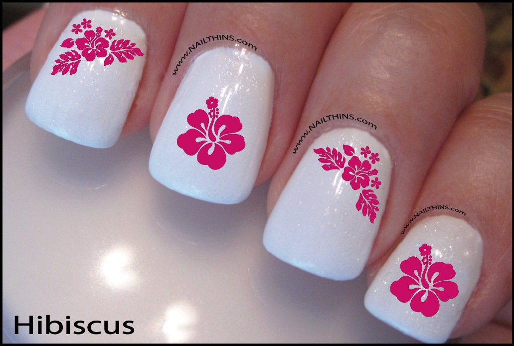 Hibiscus Nail Decal Hawaii Flower Pink, Blue, or Red Hawaiian Nail Art  NAILTHINS - Hibiscus Nail Decal Hawaii Flower Pink, Blue, Or Red Hawaiian Nail