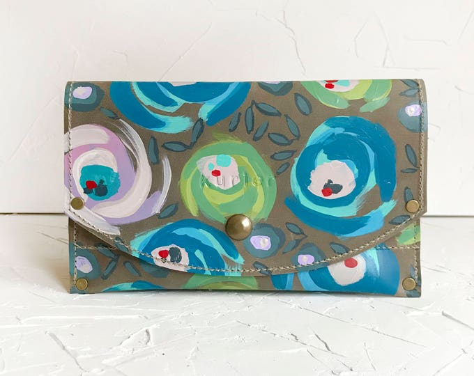 """OOAK Hand painted leather"""" Kristin"""" wallet - BLUE floral"""