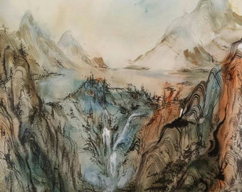 Distant Footsteps Antique Scroll Japanese Landscape Original Painting in Calligraphy Ink and Watercolour Japan Asian Traditional Artwork
