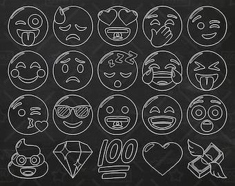 Chalkboard Emoji Vector Pack, Smiley Faces Clipart, Hand Drawn Emoji Clipart, Printable Emoji, Emoji Vectors, Emoji Stickers, SVG, PNG file