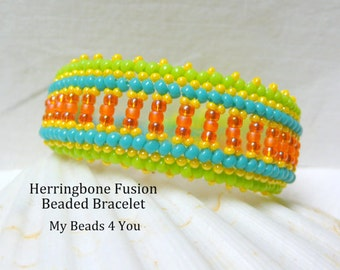 Herringbone Bracelet,Seed Bead Bracelet,Beadwoven,Herringbone,Herringbone Fusion,Beaded Jewelry,Bead instructions Tutorial,Beadwork Bracelet